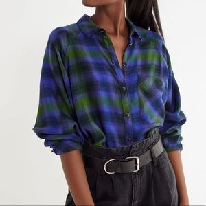 Oversized Flannel Button-Down Top